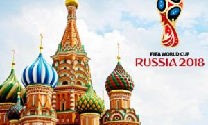 Fifa worldcup russia 2018 logo and Moscow's Saint Basil's Cathedral background